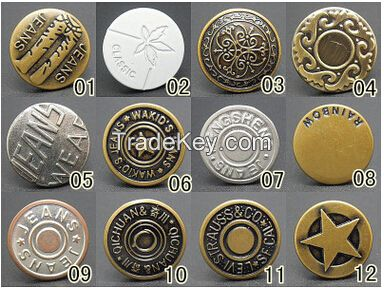 High quality brass button jeans metal button engraved logo