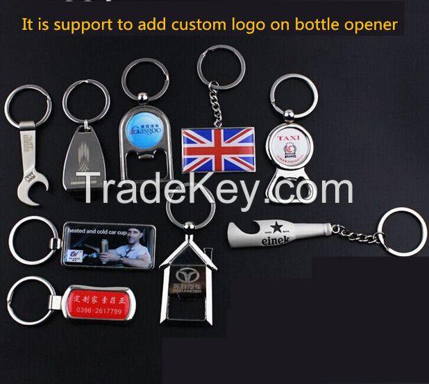 Custom logo beer wine bottle opener keychain keychain bottle opener custom