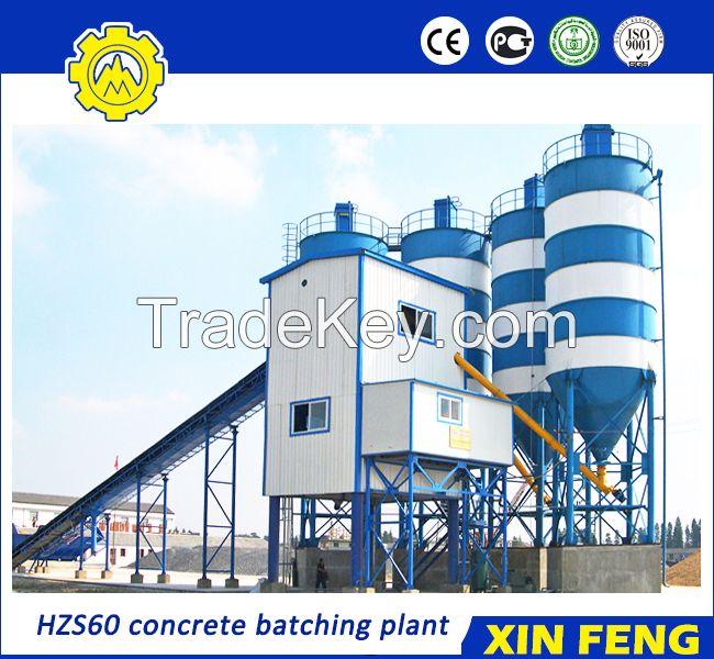 HZS60 concrete batching plant with belt conveyor