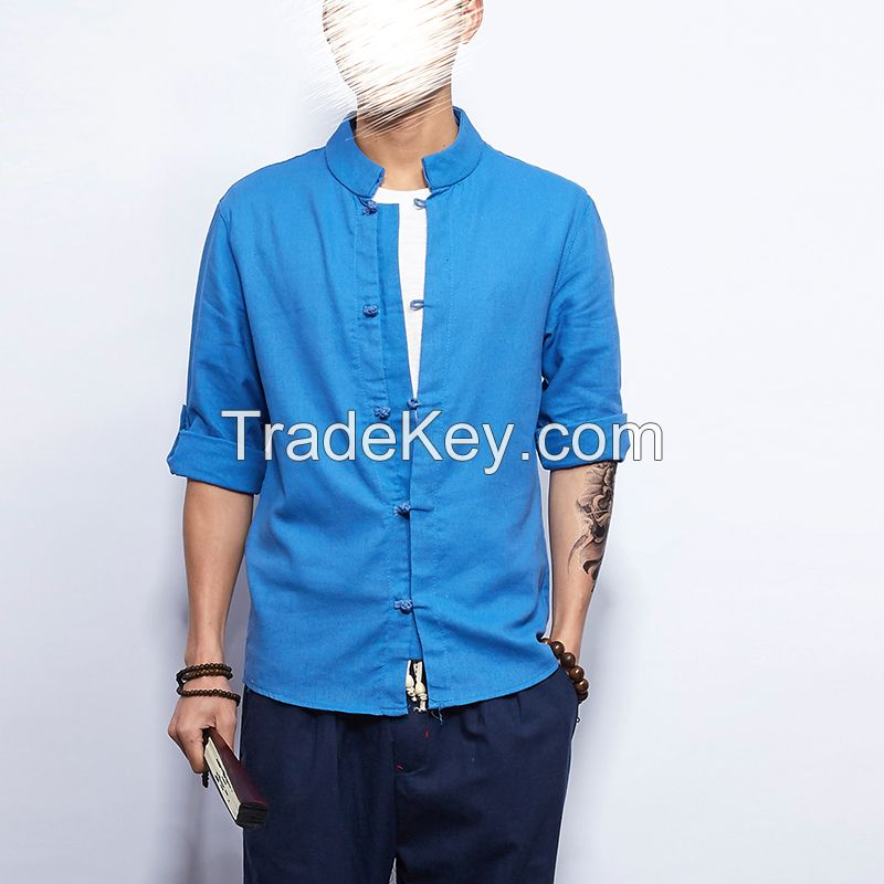 China wind, national cotton linen retro casual shirt slim