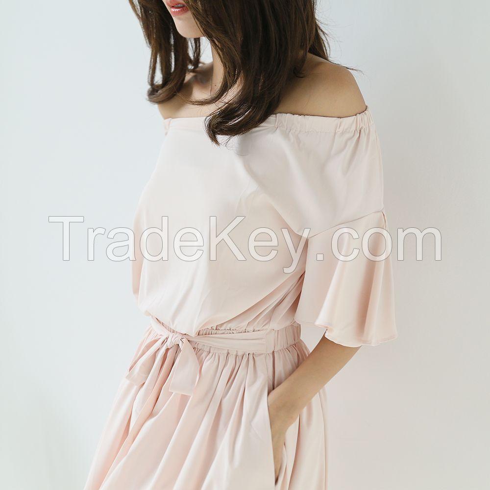 Korean fan slim sexy strapless dress pleated flounces word
