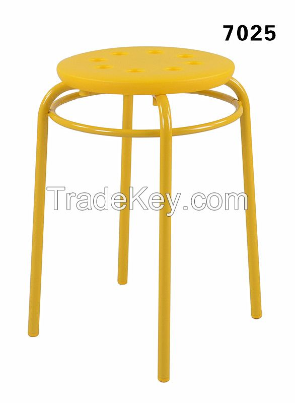 Outdoor Promotional PP Seat Steel Chair Round Chair Round Plastic Stool