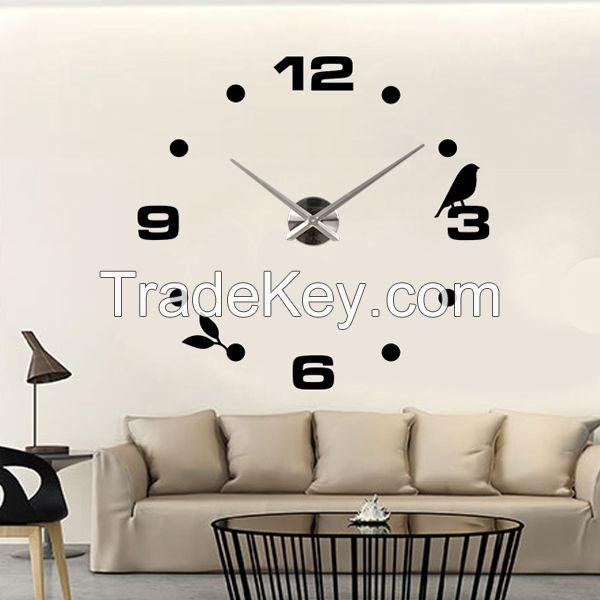 Modern Decor Time Wall Clock Silver Mirror Wall Clock