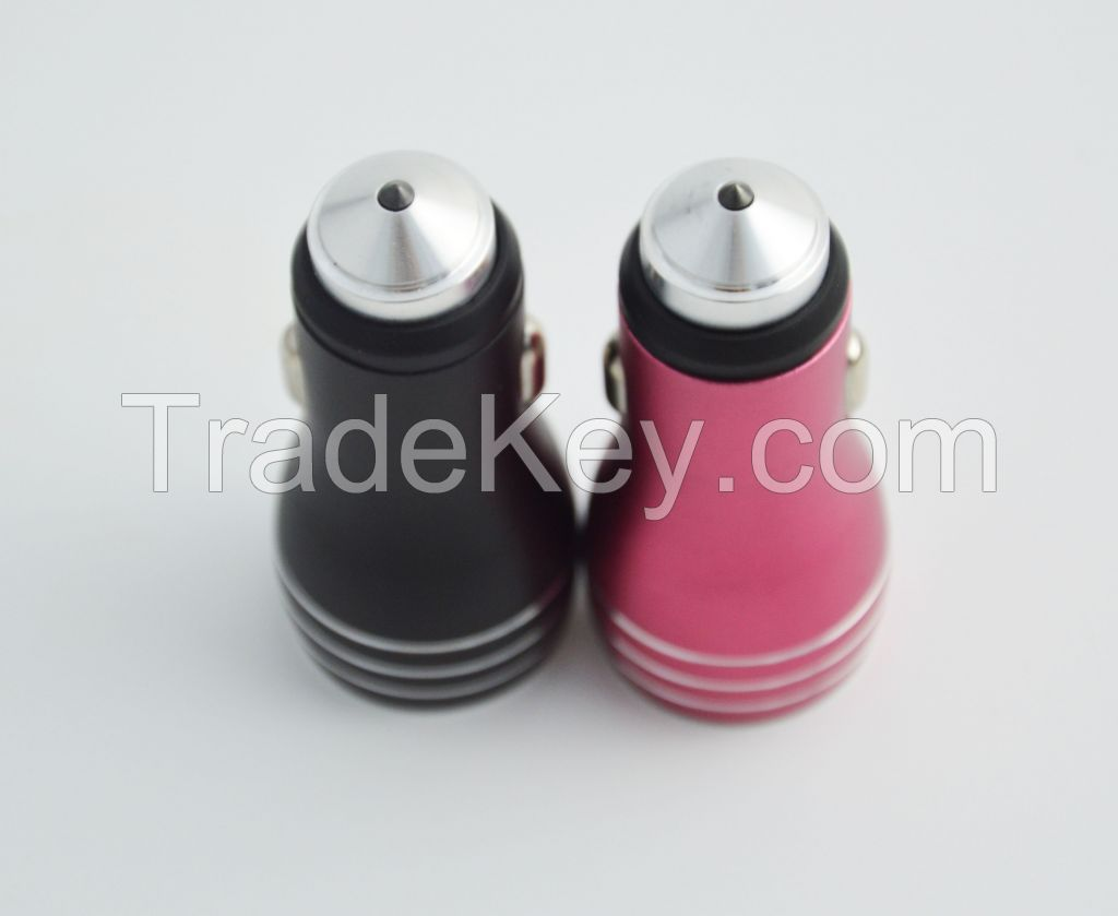 Qc3.0 car charger for mobile phone with dual ports and diamond safety hammer aluminum alloy case