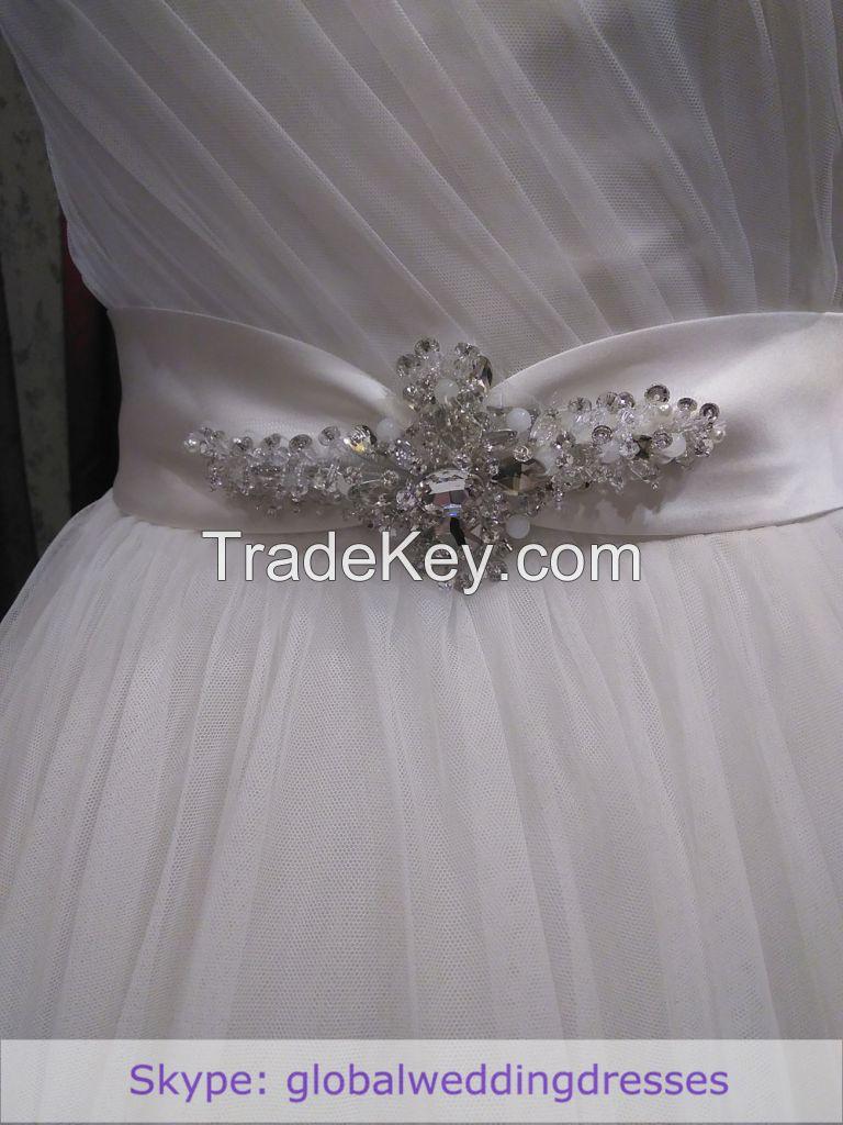 Ball-gown Wedding Dress Ivory Fine-netting One-shoulder Floor-length