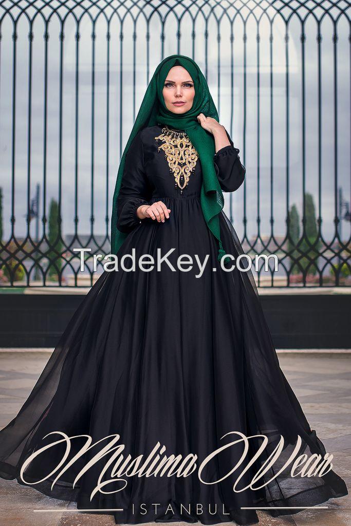 Muslima Wear Chiffon Black Dress