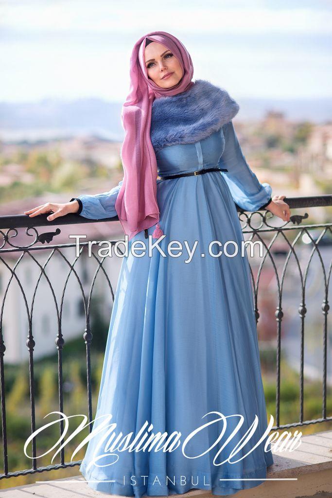 Muslima Wear Silver Blue French Chiffon Dress