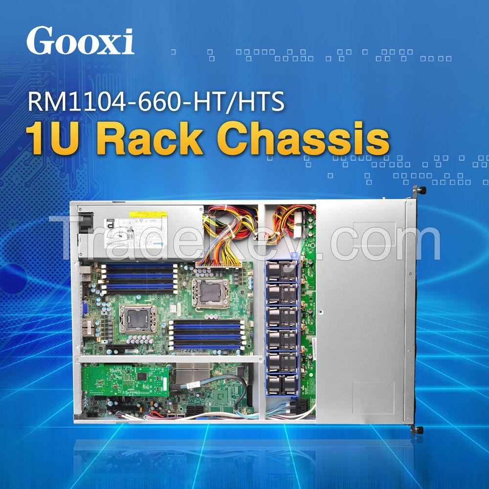 1U rackmount server case chassis 4 HDDs Gooxi RM1104-660-HT/HTS EEB / CEB / ATX / Micro ATX