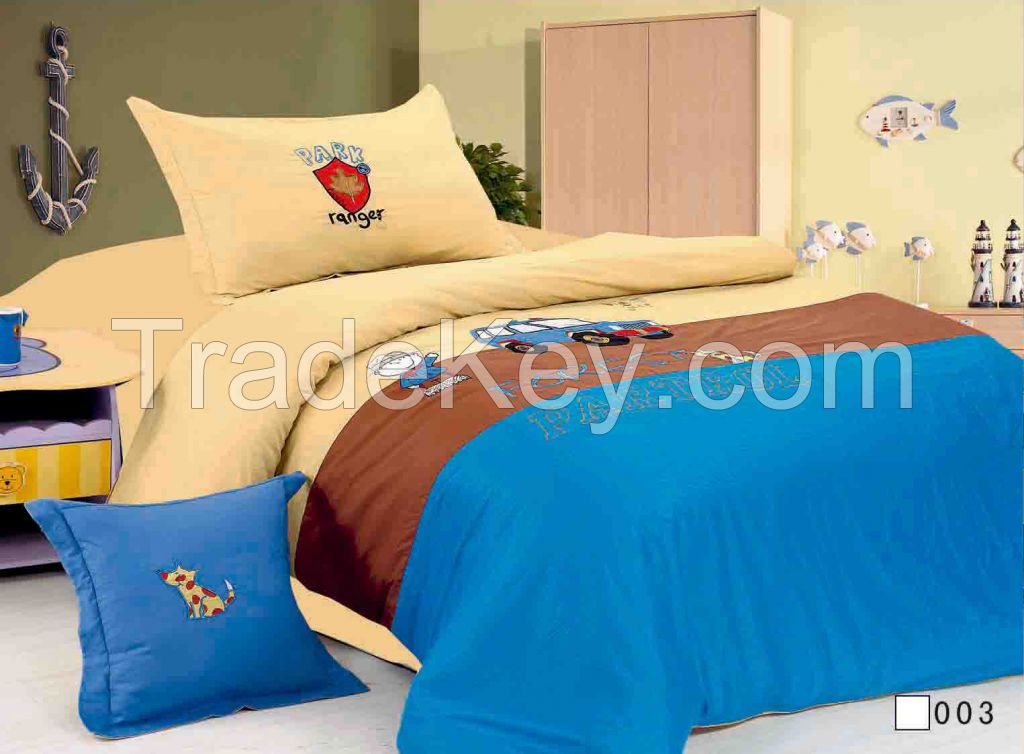 cotton fabric children designs embroidery 3pcs comforter set cartoon d