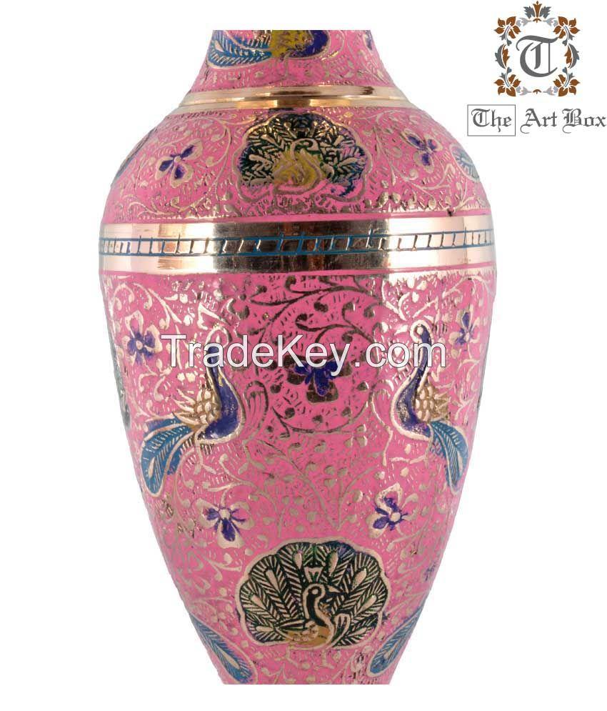 Brass Colorful Flower Vase Home Decor Metal Vases