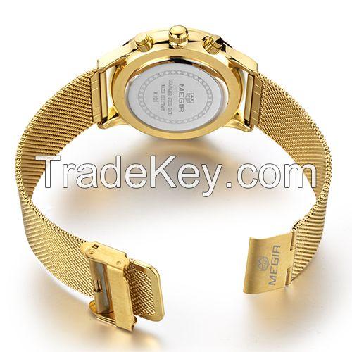 MEGIR Swiss Quartz movement strap watch 2011Gold waterproof steel wrist watch