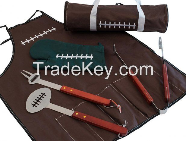 6 pieces Football Barbecue Set with Apron and Tote