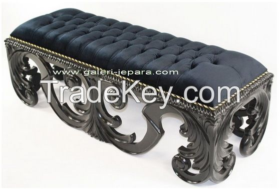 Carving Stool / Ottoman for Bedroom - Elegant Antique Sofa - Stool with Leather Seat