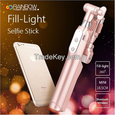 Selfie Stick, Rainbow Selfie Stick with 360 Degree Led Fill Light and Mirror, for iPhones, Samsung Galaxy s7 edge/s4 Android and More