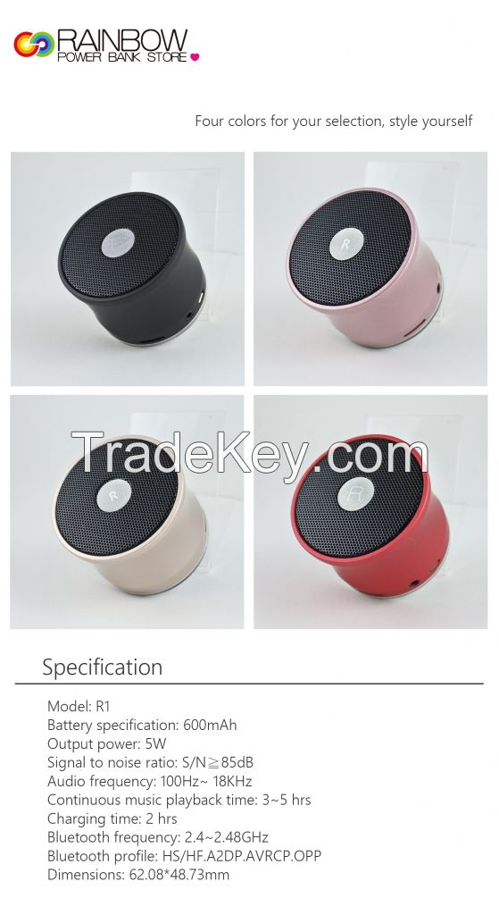 Rainbow R1 Portable Wireless Bluetooth Speaker with Built-in-Mic, Handsfree Call, AUX Line, TF Card, HD Sound and Bass for Iphone Ipad Android Smartphone and More