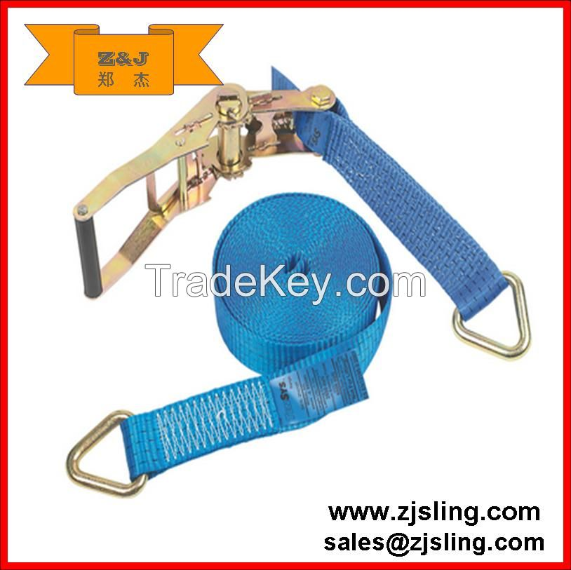 8m x 50mm. Heavy duty polyester webbing. Long-handled ratchet for high pre-tension. Delta end fittings.