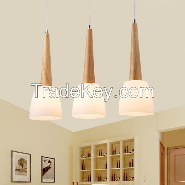 SL Wood Dinning room Lamp LED Wood Pendant Lamp Rubber Wood Japan Style Kitchen lamp Without Remote Control E14 Base Glass Cover Wood Shaft Warmwhite