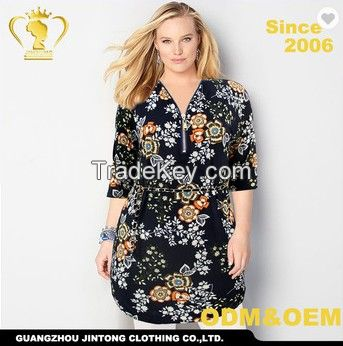 Oem service custom top new design flower xxxxl fat women clothing plus size blouse