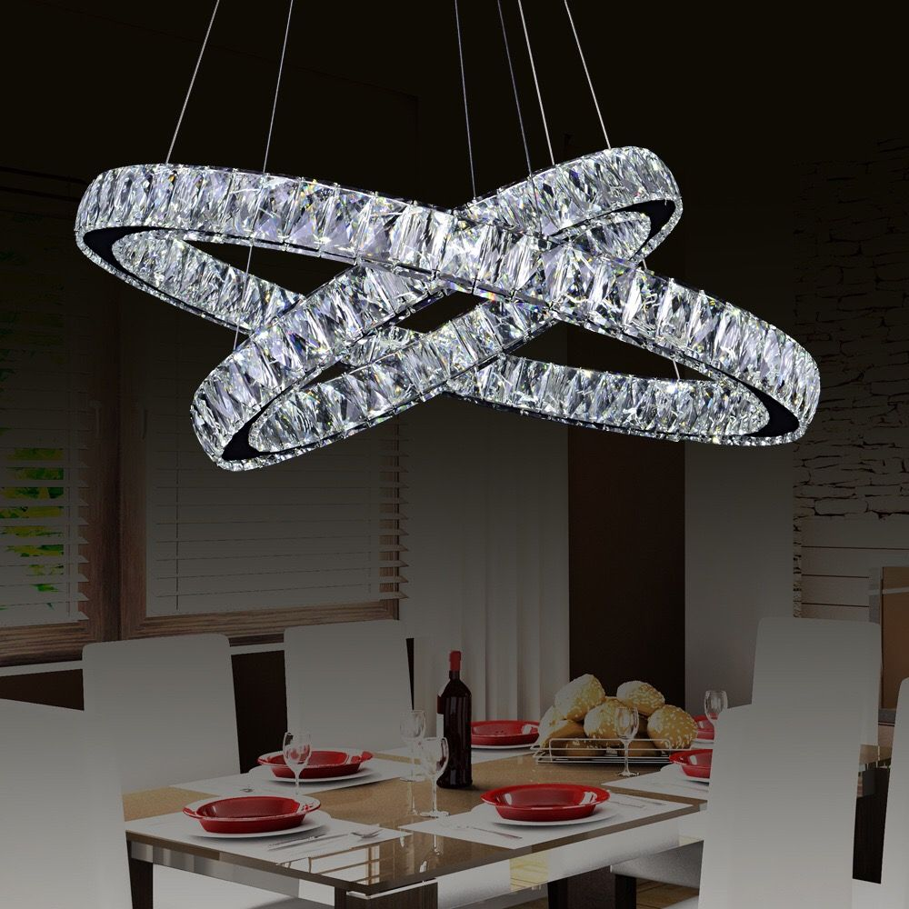 European style double ring crystal chandelier