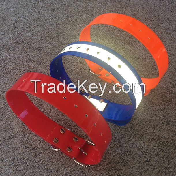 2'' wide reflective hunting dog collar made from TPU coated nylon webbing
