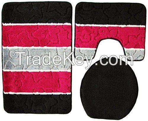 Bath rugs, anti slip rubber back, mixed design