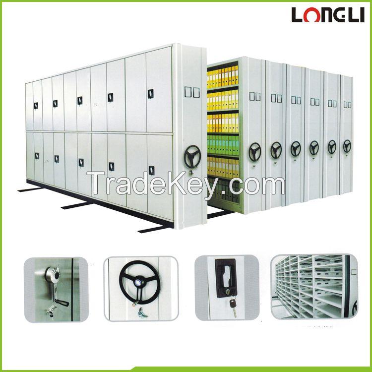 Space saving 5 or 6 layer steel grey file storage mobile shelving