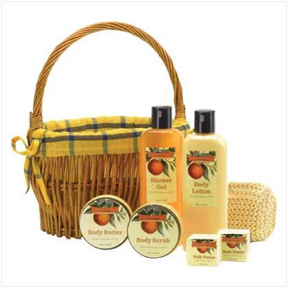 Orange Scent Bath Set in Willow Basket
