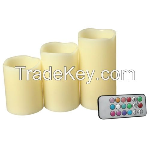 pillar shape color changing remote LED candle