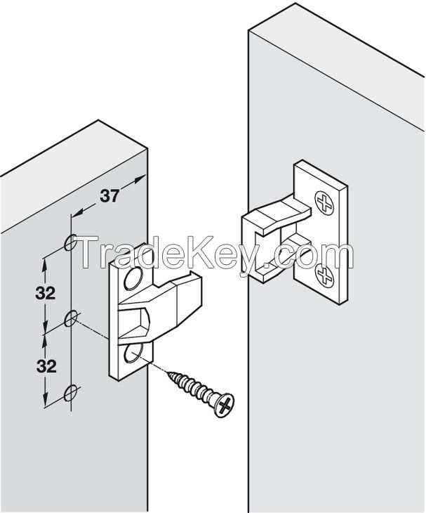 Plastic panel connecting fittings push-in fixing