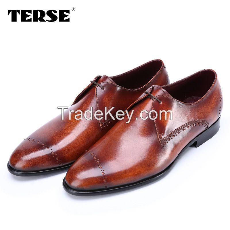 100% Handmade Genuine Leather Business Shoes Men Casual Flat Shose Leather Men Shoes Oxfords Shoes