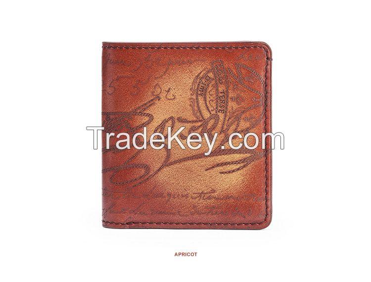 Genuine Leather Men Wallets Short Wallet Personalized Lettering Mini Wallet OEM Credit Card Wallets