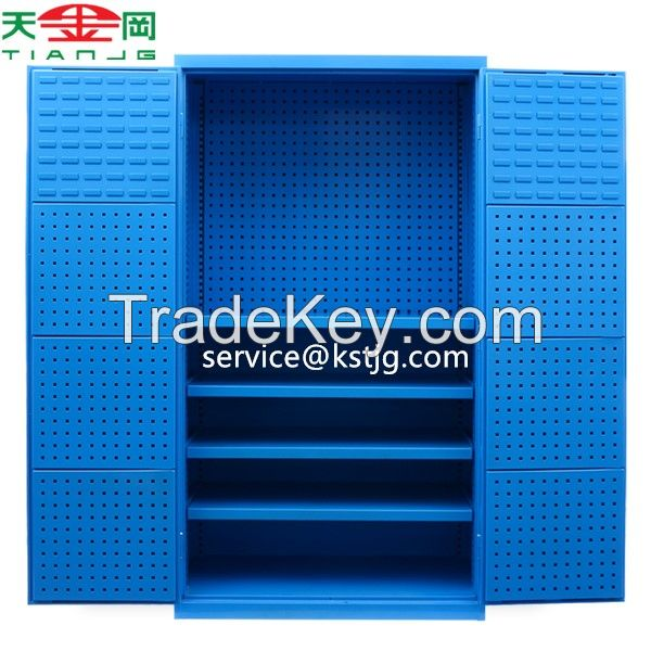 Metal Storage Tool Cabinet Heavy Duty With 2 Doors And 4 Shelves