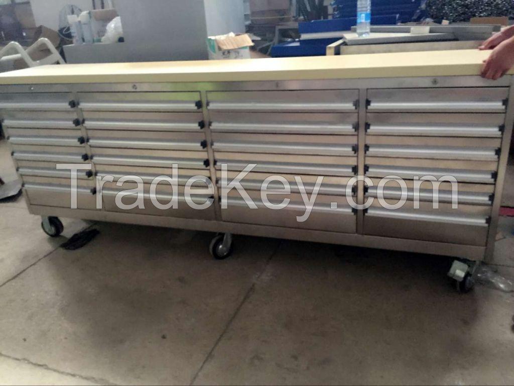 TJG 96 inch Garage Storage Steel Metal Roller Tool Box With Wheels