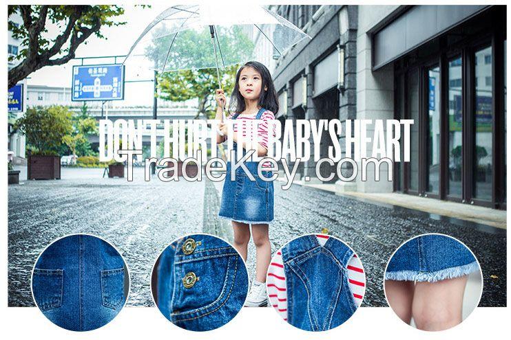 girls' strap denim skirt