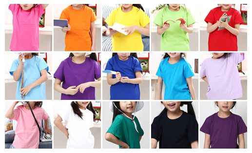 Children's short sleeve T-shirt with various colors