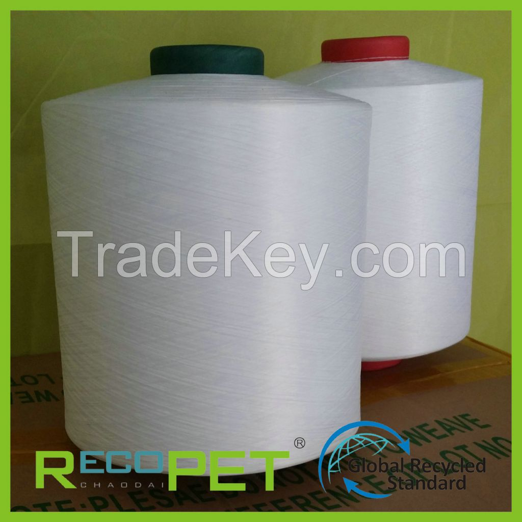 100% RPET DTY yarn of recycled polyester spun yarn made in china