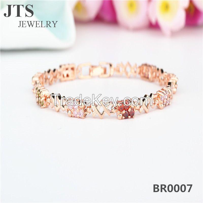JTS Colorful CZ 18K Rose Gold Plated Copper Bracelets Bangles Jewelry