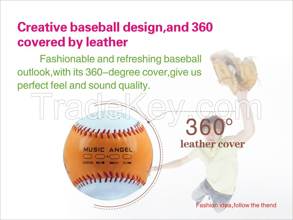 Music Angel Bluetooth LoudSpeaker Portable Baseball Outdoor Handsewn Leather Wireless Bluetooth Speakers NFC Hand-Free Call Mini Speaker Best Adapter and Quality