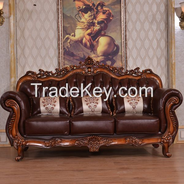 The living room genuine leather sofa set