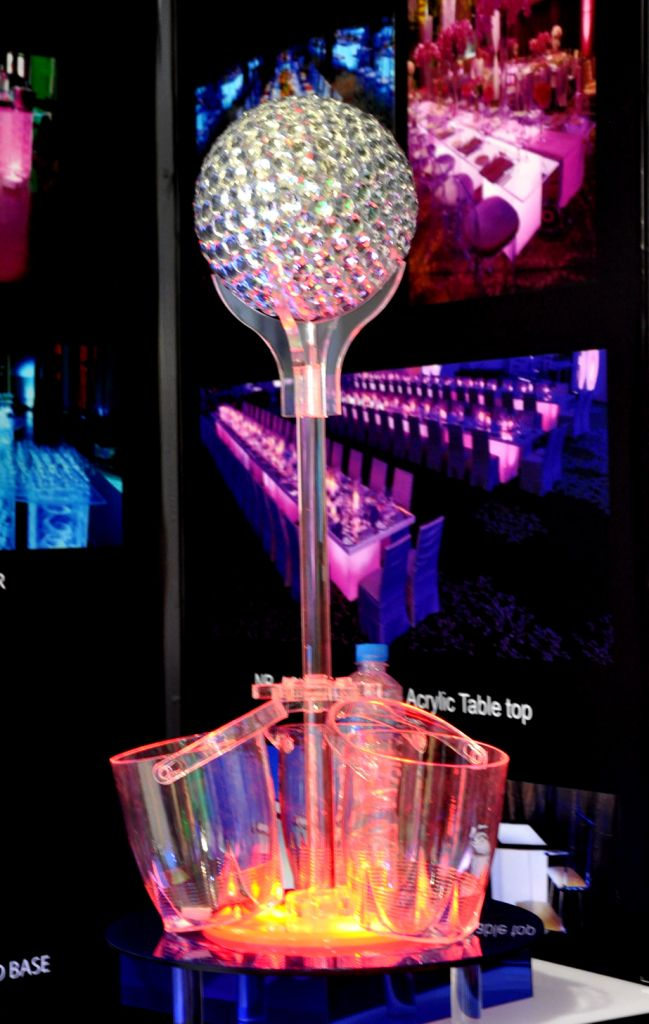 led centerpiece ice bucket with crystal globe