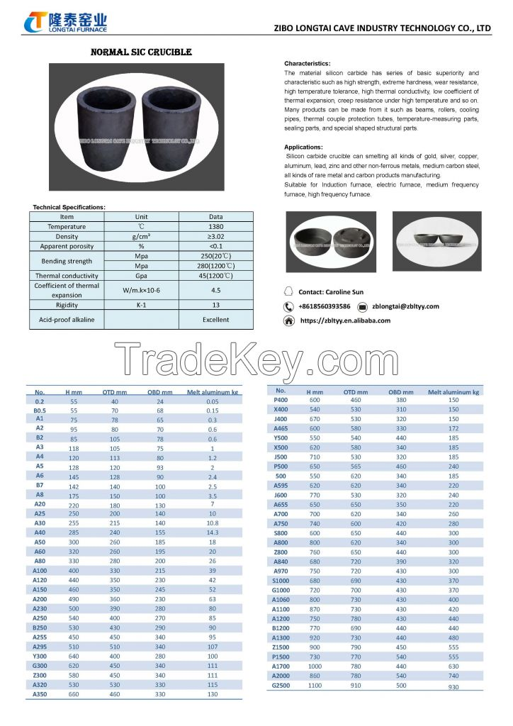 Clay graphite crucible SiC crucible for aluminum copper melting