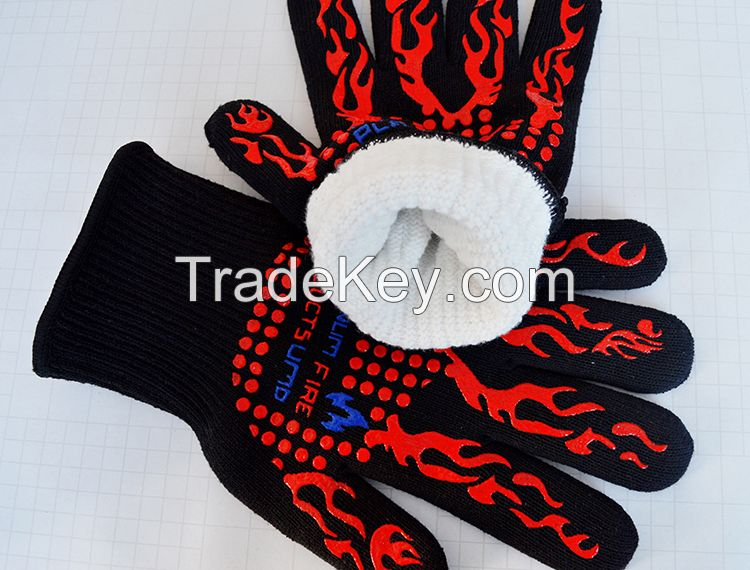 Silicone high temperature safety mitts heat resistant bbq gloves