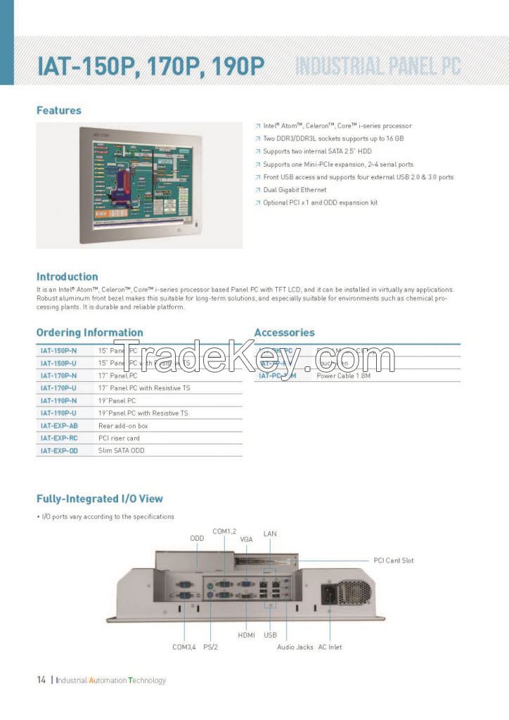 Panel PC AT-150p, IAT-170p, IAT-190p