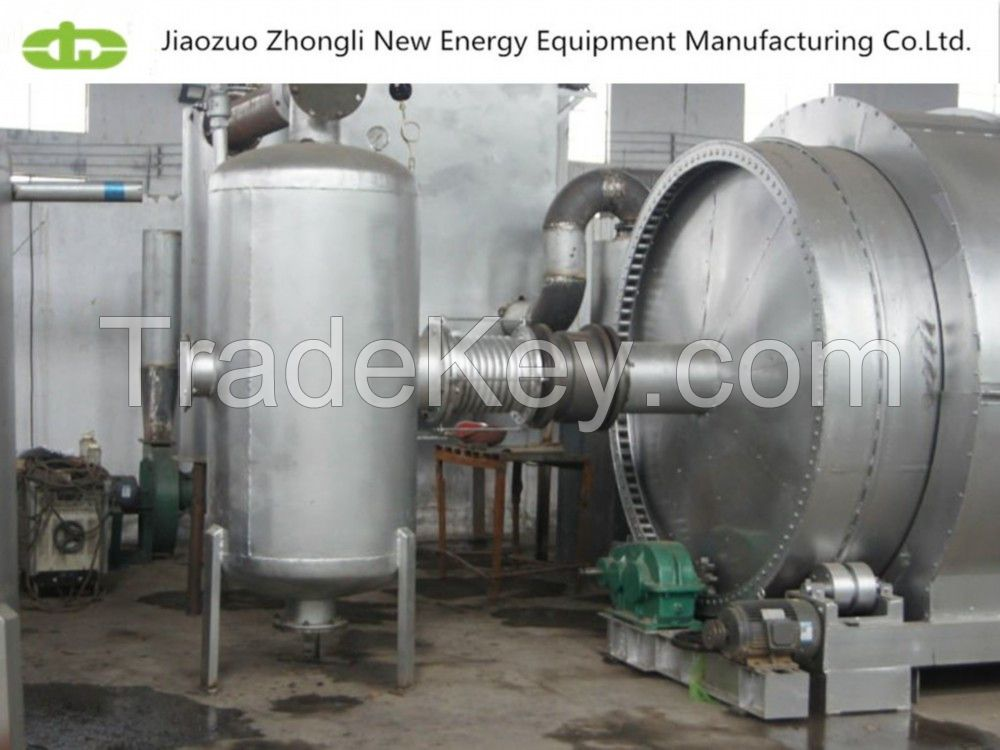 Waste to oil/waste plastics rubbers tires pyrolysis plant from Jiaozuo Zhongli