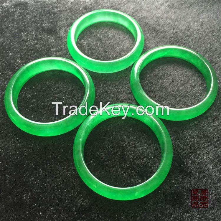 Qing Dynasty Jade Bracelet Full in Green Flat Bar Bracelet Gifts