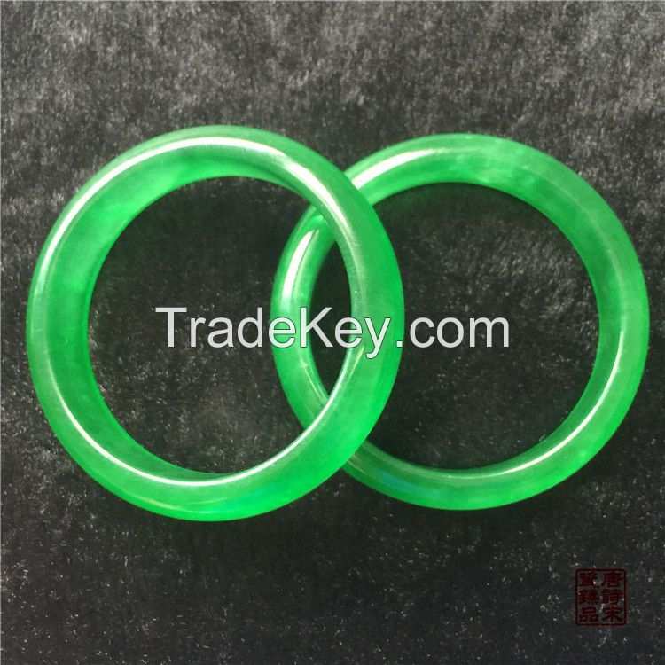 Qing Dynasty Jade Bracelet Full in Green Flat Bar Bracelet Gifts