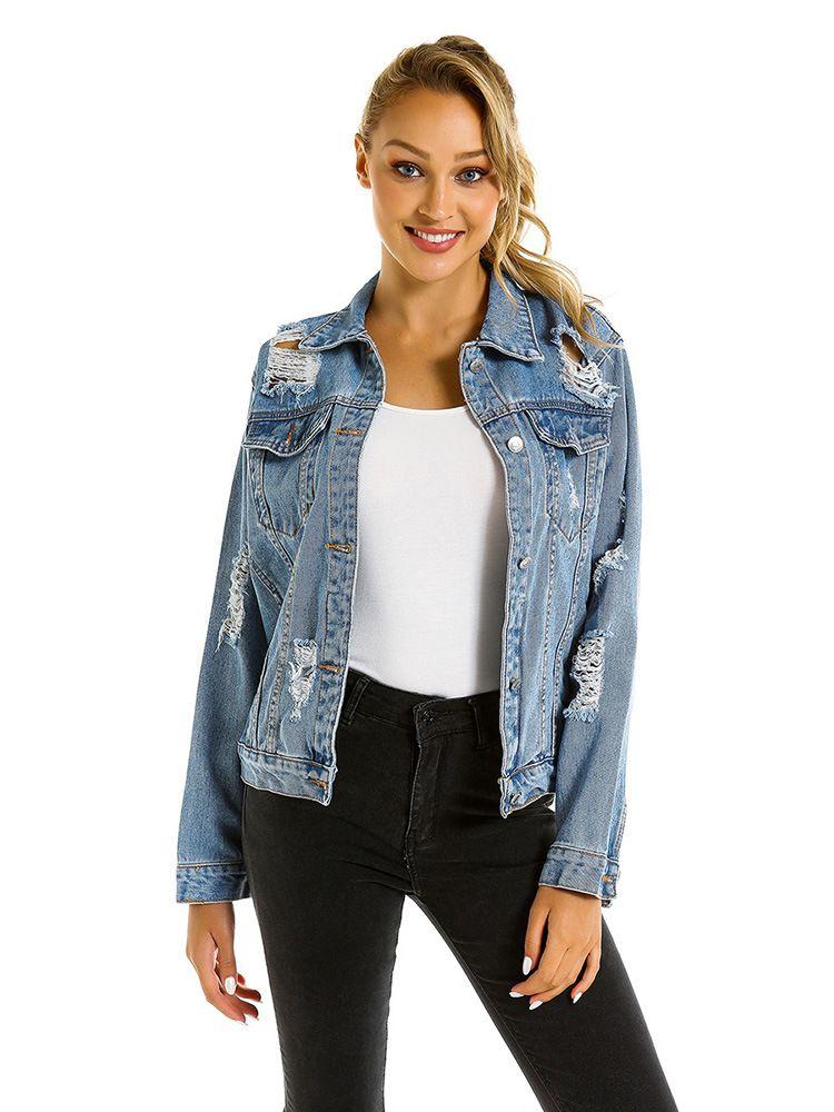 Women Fashionable Jeans Jacket Denim Jacket Jeans Coat Wholesale