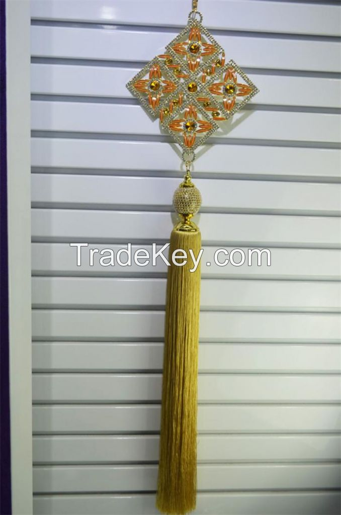 Shiny ODM high quality polyester handmade OEM tassels fringe hangings for home decoration