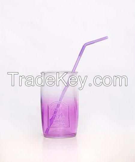 Best Sale Country Style Colorful Glass Mugs Wholesale 160z Glass Mason Jar