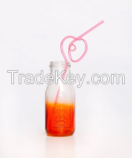 10oz Colorful Factory Price Glass Milk Jar With Lid
